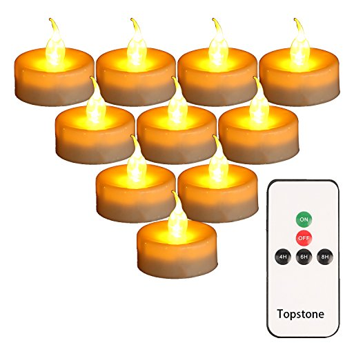 Topstone LED Tealight candles with Battery Powered Flameless Amber Flickering Flame,Remote Control and 4H 6H 8H Timer,2 Dozen Pack ()