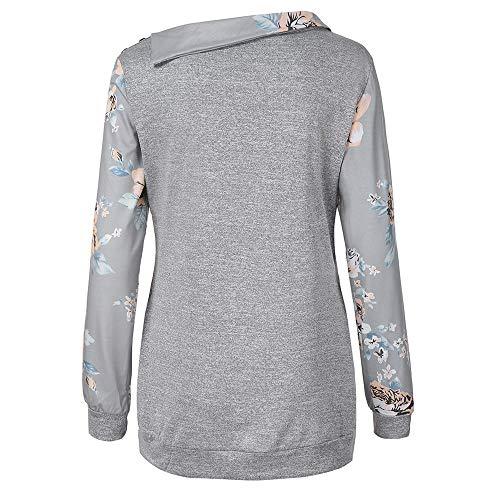 Femme 46 38 Tops Gris 40 GongzhuMM Chemisier Patchwork 42 Haut Outwear Sweat Blouse Sweat Pullover T EU Pull Shirts Floral 44 Automne Imprim Shirt Cou d7Bq7U