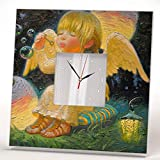 Baby Angel Bubble Blower Wall Clock Framed Mirror Decor Picture Art Printed Kids Room Design Gift