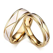 ROWAG 4mm Gold Plated Titanium Stainless Steel Womens Couple Engagement Wedding Bands for Her and Him Mens 6mm Promise Rings