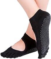 Calcetines para Yoga y Pilates ANTIDERRAPANTES. Increible accesorio, medias antideslizantes, ideales para yoga y pilates. Calcetas de mujer tipo zapatillas. (Negro)
