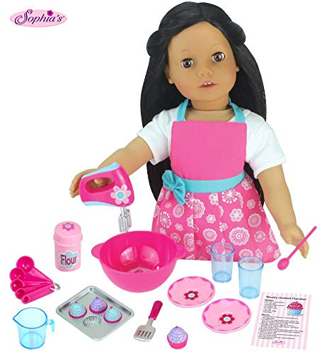 Sophias 18 PC. Set of 18 Inch Doll Clothes Apron Plus Baking Accessory Set for Girl Dolls, Mini Doll Food & Apron Cookware Set Perfect for Your American Doll & More!
