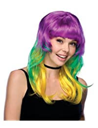 Rubies Costume Mardi Gras Wig, Green/Gold/Purple, Adult