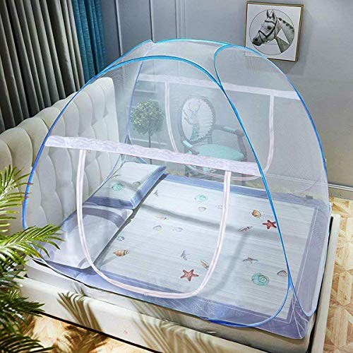 DaTong Pop-Up Mosquito Net Tent for Beds Anti Mosquito Bites Folding Design with Net Bottom for Babys Adults Trip (79 x71x59 inch)]()