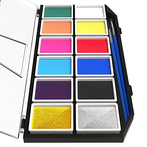 Artiparty Face & Body Paint Kit – Professional Palette – Non-Toxic & Hypoallergenic – Easy to Apply & Remove – Plastic Box for Ease of Storage&Carrying – Ideal as Adults (Body Painting De Halloween)