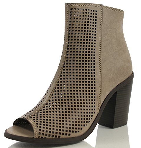 Soda Women's Anajay Open Toe Perforated Chunky High Heel Ankle Bootie