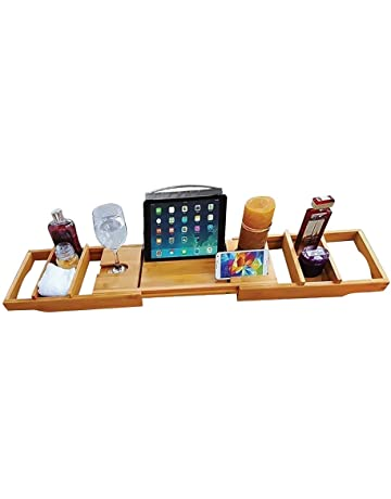 Bathroom Hardware Home Improvement Original Bamboo Bathroom Tray Telescoping Bathtub Desk For Phone Laptop Notebook Wine Glasses Candles Bathroom Shelf