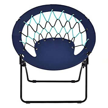 Costway Netted Folding Round Bungee Chair Steel Frame Outdoor Camping  Hiking Garden Patio In Blue