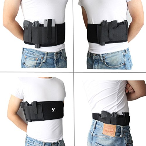 Neoprene-Belly-Band-Holster-Concealed-Carry-with-Magazine-PocketPouch-2-Elastic-Straps-for-Women-Men-Fits-Glock-Ruger-LCP-MP-Shield-Sig-Sauer-Ruger-Kahr-Beretta-1911-etc
