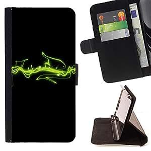 BullDog Case - FOR/Samsung Galaxy S6 / - / green lines space cosmos energy art /- Monedero de cuero de la PU Llevar cubierta de la caja con el ID Credit Card Slots Flip funda de cuer