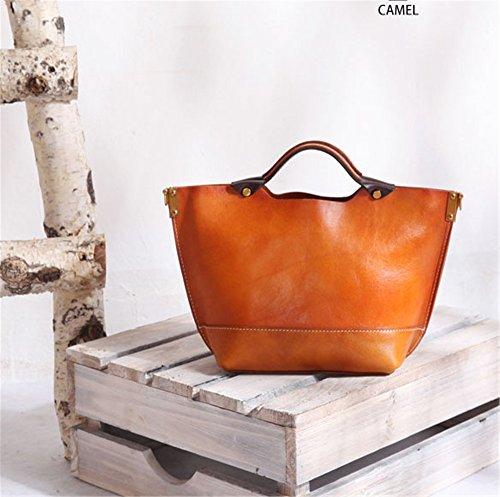 colore Borsa Cuoio Cammello Abbronzata Borse Mano Xuanbao A Messenger Rosso Fatte Bag Donna Genuino PZwqWX
