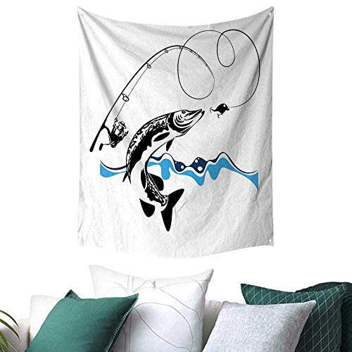 Anshesix Fishing Decor Tapestry for Dorm Big Pike Fish Catching Wobblers Reel Trap in River Raptorial Predator Print College/Dorm Decoration 60W x 91L INCH Queen FullBlack Blue