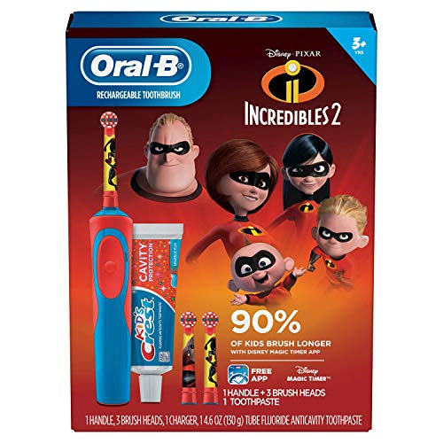 Oral-B Kids Rechargeable Electric Toothbrush - Incredibles (Oral B Stages Electric Toothbrush)
