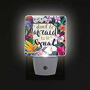 ALAZA LED Night Light With Smart Dusk To Dawn Sensor,Exotic Floral Frame Positive Phrase Plug In Night Light Great For Bedroom Bathroom Hallway Stairways Or Any Dark Room