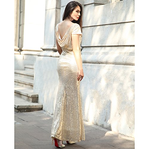 YiZYiF Women Backless Sequin Lace Wedding Long Bridesmaid Dress Evening Party Gown Gold Small