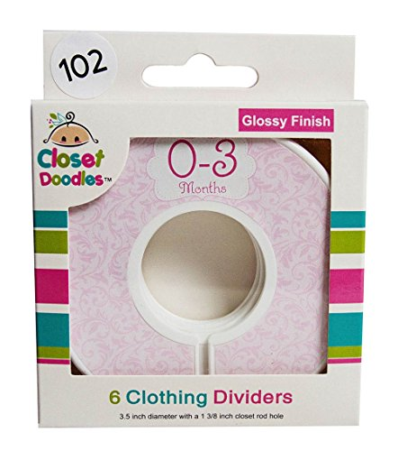 Closet-Doodles-C102-Roses-Girl-Baby-Clothing-Dividers-Set-of-6-Fits-125inch-Rod