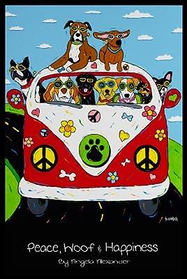 Buyartforless Peace Woof and Happiness by Angela Alexander 24x36 Art Print Poster Dog Lovers Humor Retro Pop Style VW Beetle ACA002