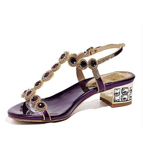 L@YC Women's High Heels Summer and Autumn Cool Word with Flat Size of The Size of The Rough with The Diamond Dance Purple