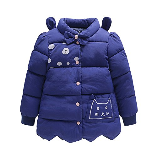 Newmarket Jacket (Desirca Cute Baby Girls Jackets Cat Printing Bow Jacket Kids Hooded Children Outerwear Coat Girls Blue 10T)