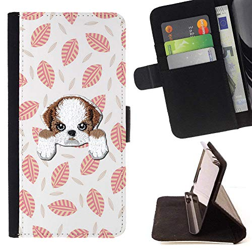 Leaf Mission Pattern ([ Shih TZU ] Embroidered Cute Dog Puppy Leather Wallet Case Samsung Galaxy J3 Emerge/Galaxy J3 Prime/Galaxy J3 Eclipse/Galaxy J3 Mission [ Peach Tropical Leaves Pattern ])