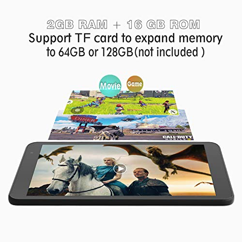 Tablet Android 9.0 8-Zoll WiFi - HAOQIN H8 Quad Core 2GB RAM 16GB Speicherraum HD IPS Display Bluetooth FM Google Zertifiziertes (Grau)