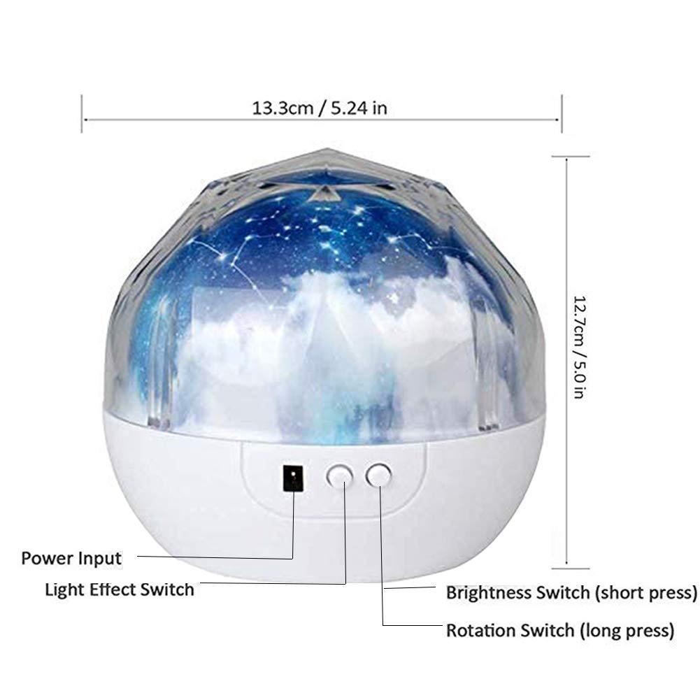360-Grad Drehung LED Sternenprojektor Baby mit 7 Gruppen Film Kinder Nachtlicht Sternenhimmel Projektor Kinder Nachtlampe Sternenhimmel Sternenlicht Projektor Baby Geschenke f/ür Kinder