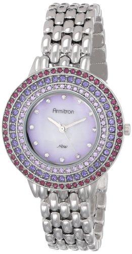 Armitron Women's 75/5181VMSVOB Purple Swarovski Crystal Accented Silver-Tone Bracelet Watch