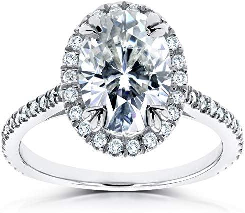 Kobelli Oval Moissanite and Lab Grown Diamond Halo Engagement Ring 1 4/5 CTW 14k White Gold (HI/VS, DEF/VS)