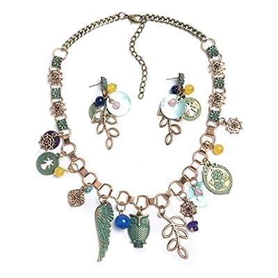 Women Retro Folk Style Animal Owl Leaves Flower Hollow Necklace Earring Jewelry Set Multicolor supplier