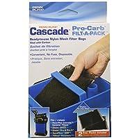 Bolsas de filtro Penn Plax Pro-Carb para todos los filtros de recipiente - Llenos de carbón activado para agua de acuario limpia - 8 onzas, 2 paquetes