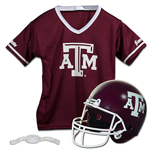 Franklin Sports Texas A&M Aggies Kids College Football Uniform Set - NCAA Youth Football Uniform Costume - Helmet, Jersey, Chinstrap Set - Youth M