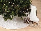 Noël Blanc Faux Fur Design White Holiday Christmas Tree Skirt, One Piece