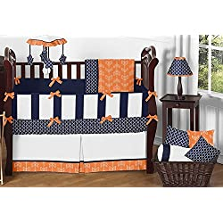 Sweet Jojo Designs Modern Bright Orange and Navy Arrow Print Hexagon 9 Piece Crib Baby Boy Bedding Set with bumper