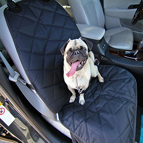 ANCwear Deluxe Bucket Dog Seat Cover - Waterproof Material with Skirt - Dog Seat Belt Included - Unique Nonslip Backing with Seat Anchors - Black