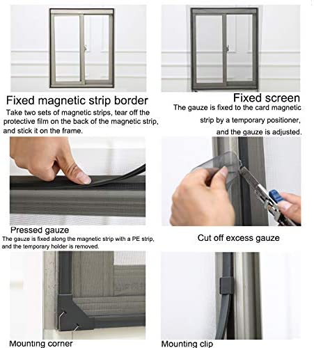 47x51inch Adjustable Window Screen Netting Mesh Curtain,anti Mosquito Magnetic Window Mosquito Net With Magic Tape-white 120x130cm