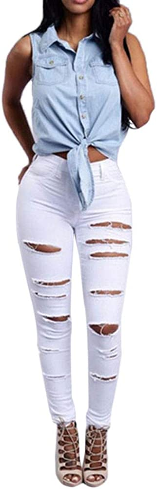 WUAI-Women High Waisted Ripped Jeans Skinny Stretch Slim Fit Destroyed Denim Pants Capri