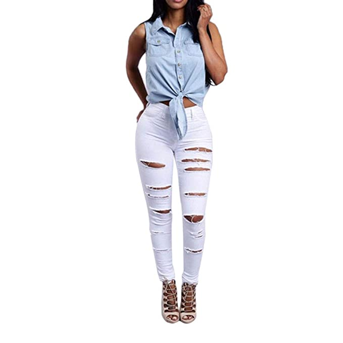K-youth Mujer Pantalones Vaqueros Rotos Mujer Elasticos Skinny Push Up Pantalones de Mezclilla para Mujer Leggings Cintura Alta Jeans de Ajustado ...