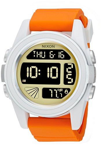 Nixon Men's 'Unit SW, Rebel Pilot' Japanese Automatic Rubber and Silicone Casual Watch, Color:Orange (Model: A197SW-2384-00)