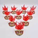 Yiseng 12pcs Feather Mini Mask Venetian Masquerade Party Decoration With Luxury Pearl Lace Fringed Mask (red)