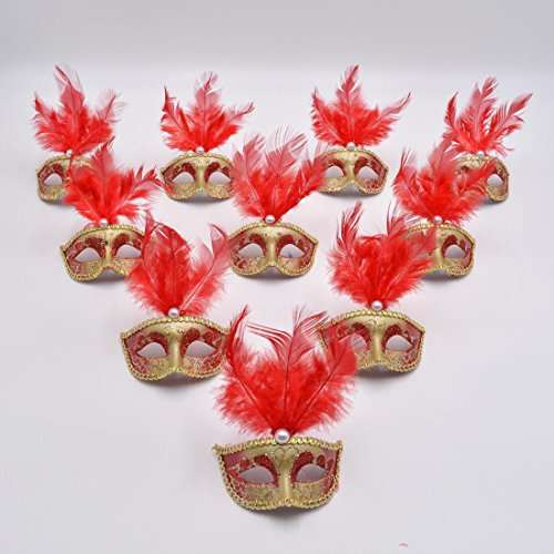Masquerade Mini Mask Party Decorations - Yiseng 12pcs Feather Small Mask Luxury Pearl Lace Fringed Halloween Costume Decor (red) (Party Costumes Halloween)