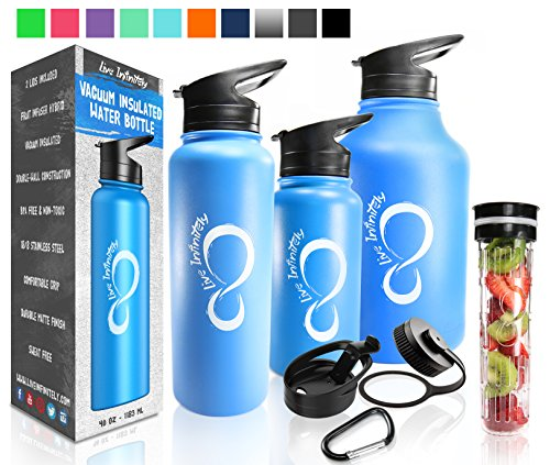 Double Wall Vacuum Insulated Water Bottles–30, 40 & 64oz 18/8 Food Safe Stainless Steel- Includes Flip Top & Wide Mouth Lid, Removable Fruit Infusion Rod & Carabiner- For Hot & Cold (Blue, 40 Ounce)