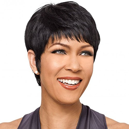 Capless Ultrashort Heat Resistant Short Straight Synthetic Wigs with Bangs For Black Women