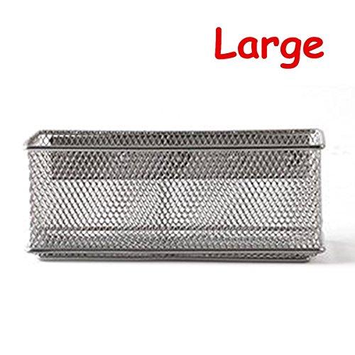 Wire Storage Lockers (Caveen Magnetic Storage Basket Wire Mesh Tray Caddy Storage Organizer Container for Refrigerator Whiteboard L)