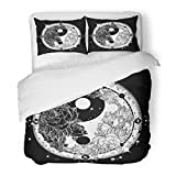 SanChic Duvet Cover Set Yin and Yang Tattoo Boho Mandala Meditation Philosophy Harmony Symbol Floral Meditative Black White Roses Decorative Bedding Set with 2 Pillow Shams Full/Queen Size