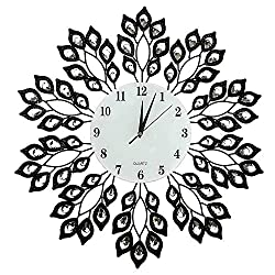 LuLu Décor, 25 Black Leaf Metal Wall Clock, 9 White Glass Dial with Arabic Numerals, Decorative Clock for Living Room, Bedroom, Office Space