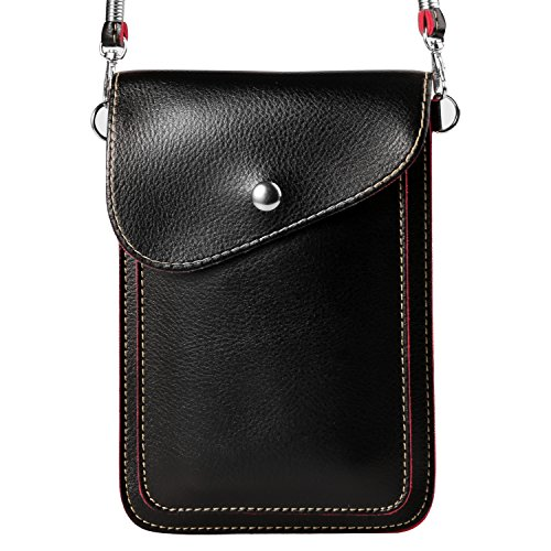Women's PU Leather Vertical Cross-body Bag Wallet Purse for Samsung Galaxy S9+ S9 S8+ S8/Note 8/A5 A7 J3 J5 J7/Nokia 7 Plus 5 6 8/HTC Desire 12/U11 EYEs/U11+ (Black) (Wallet Desire Eye Htc Case)