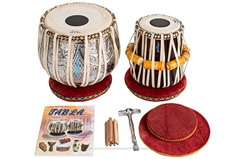 MAHARAJA Concert Tabla Drum Set – Designer 4½ Kg Copper Bayan, Finest Dayan with Padded Bag, Book, Hammer, Cushions & Cover – Tabla Set Tabla Drums Tablas Indian Musical Instruments (PDI-FI)