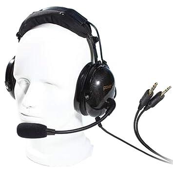 Powertime - Auriculares de diadema con cancelación de ruido AG-1 para comunicación de aviación
