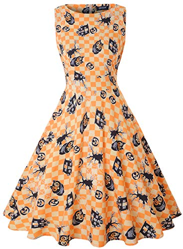 OWIN Womens Halloween Casual Sleeveless A-line Owl Printed Pumpkin Dress