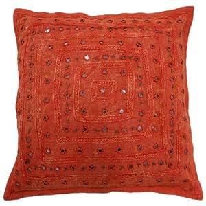 Cojín Naranja 38cm Caso bordados Decoración Espejo Trabajo almohada cubierta de regalos Indian 15 pulgadas